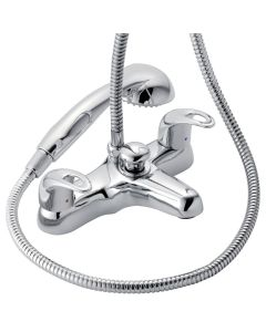 Francis Pegler Izzi Chrome Dual Control Deck Mounted Bath Shower Mixer Tap with Shower Kit