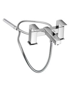 Francis Pegler Manta Chrome Dual Control Two Hole Bath Filler Tap with Shower Kit