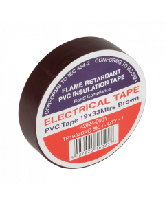 Brown Electrical PVC Insulation Tape 19mm x 33m