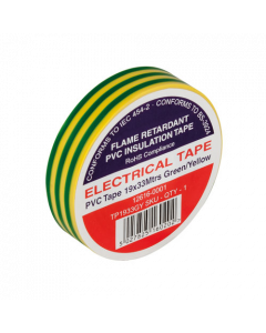 Green & Yellow Electrical PVC Insulation Tape 19mm x 33m